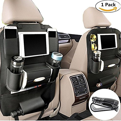PALMOO Pu Leather Car Seat Back Organizer and iPad mini Holder, Universal Use as Car Backseat Organizer for Kids, Storage Bottles, Tissue Box, Toys (Black)