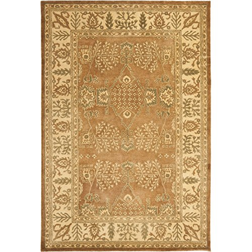 (Safavieh Bergama Collection BRG190A Handmade Light Brown and Beige Premium Wool Area Rug (6' x 9') )