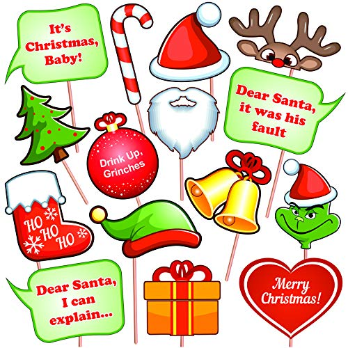 Christmas Photo Booth Props Kit (15 Pcs), DIY Party Favors with sticks. Funny Xmas Selfie Accessories for Adults & Kids - Theme Decorations, New Year's Eve Supplies -
