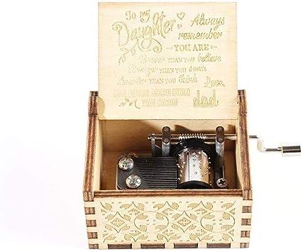 zhuyu Caja de música de Madera con manivela, Mecanismo Antiguo Tallado Caja Musical niños, Marido, Hija: Amazon.es: Hogar