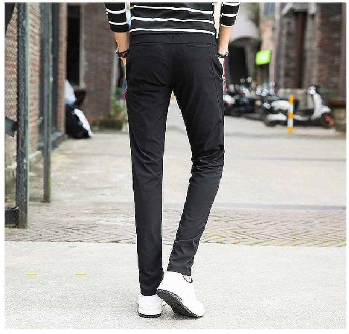 Abetteric Mens Solid Color Plus Size Stretch Silm Fit Big Pockets Work Pant Black 4XL