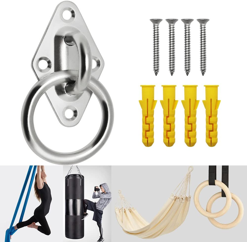 Yotako 8mm Heavy Duty Anchor Diamond Pad Eye Plate, 397lbs Ceiling Hooks Wall Mount Bracket for Home Suspension Trainer Straps Gymnastic Rings, Boat Marine Deck Hardware