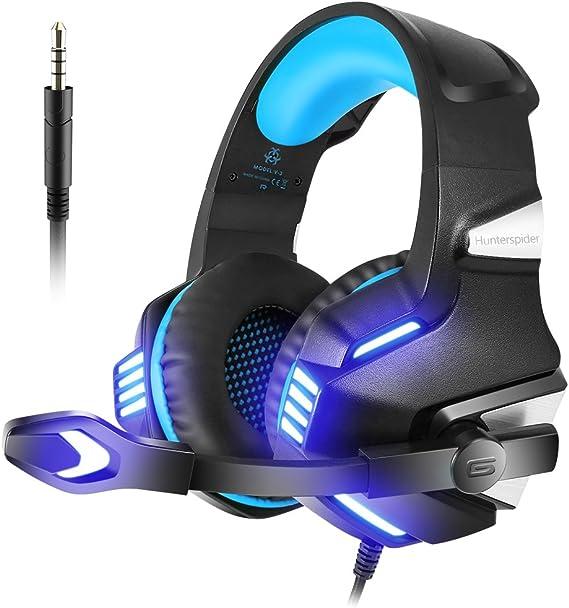 VersionTECH. Auriculares Gaming con Micrófono Aislante,Sonido Envolvente,Luz LED,Volumen Control,Para PC/Tableta/PSP/PS4/Móvil/Xbox One(Azul): Amazon.es: Videojuegos