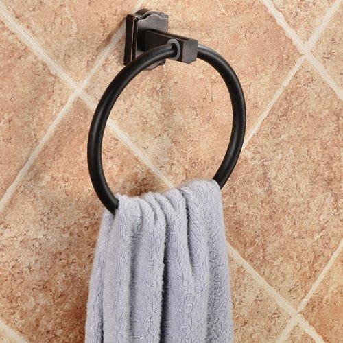 バスルーム洗面所真鍮タオルリング壁マウントBathハードウェアアクセサリーをドアの引き出し/キャビネットタオルリングオイルはブロンズ仕上げ B00SGMGLVG