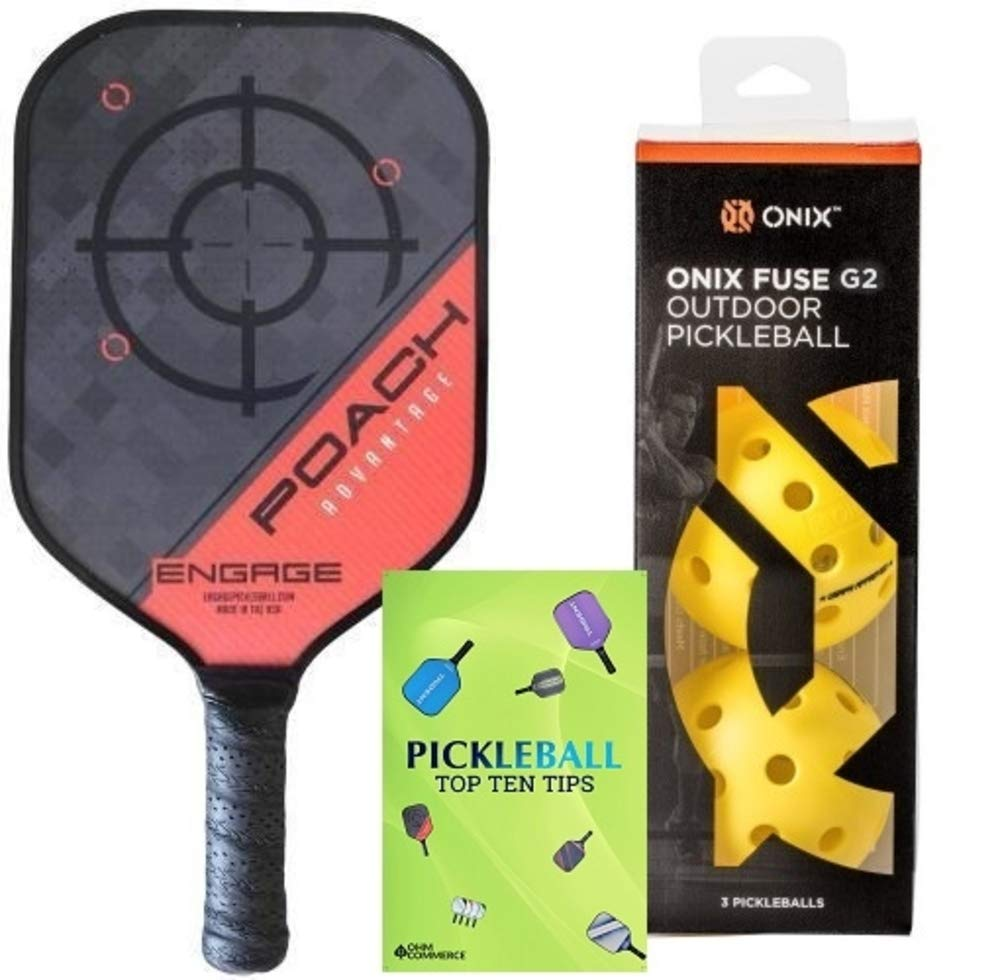 Engage Poach Advantage Composite Pickleball Paddle & Onix 3-Pack Fuse G2 Pickleball Balls & Free Pickleball Tips - Premier Pickleball Set for Beginner and Pro Players (Lightweight, Red)
