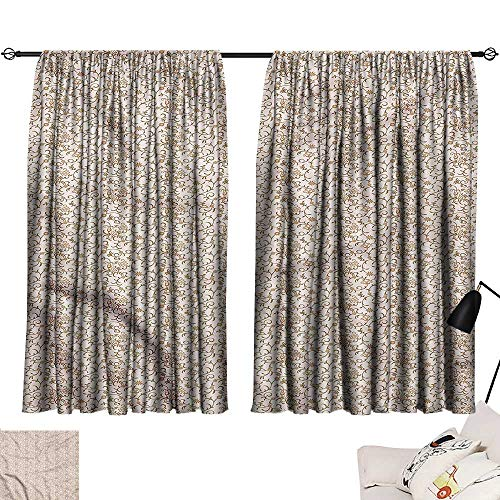Jinguizi Set of 2 Panels Darkening Curtains Antique,Vintage Paisley Scroll,Woven Curtain for Kitchen Window W72 x - Scroll Woven Paisley