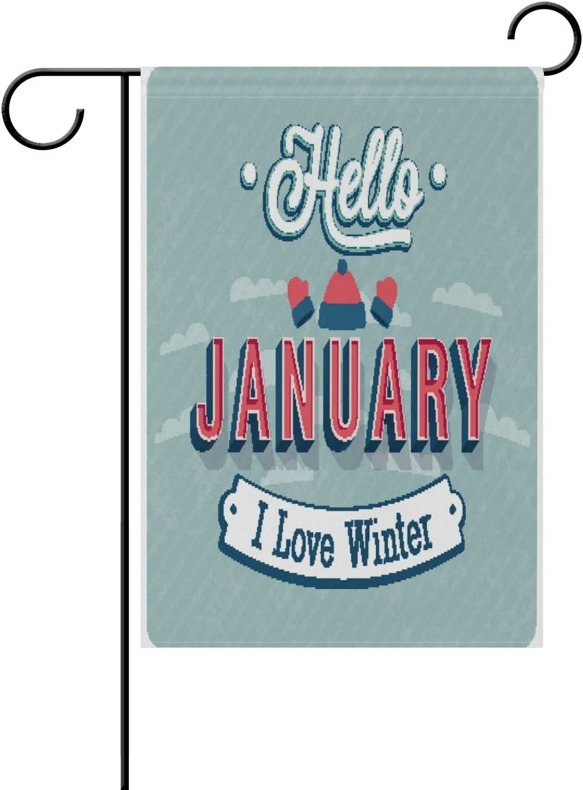 Alaza Hello Winter January Polyester Garden Flag House Banner 28 X 40 Inch Two Sided Welcome Yard Decoration Flag For Wedding Party Home Decor Garden Outdoor