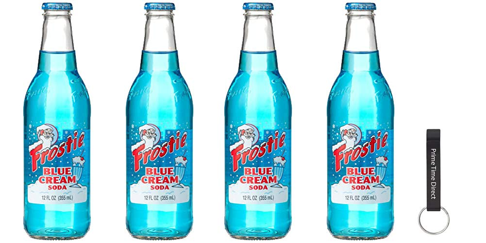 Frostie Blue Cream Soda, 12 Ounce (4 Bottles) Bundled with PrimeTime Direct Keychain Bottle Opener in a PTD Sealed Bag