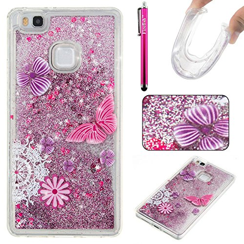 Huawei P9 Lite Case, Firefish Slim Sparkle Shock Absorption Slim Bumper Cover Anti-Slip Soft Silicone Protective Skin for Girls Children Fits for Huawei P9 Lite -Butterfly