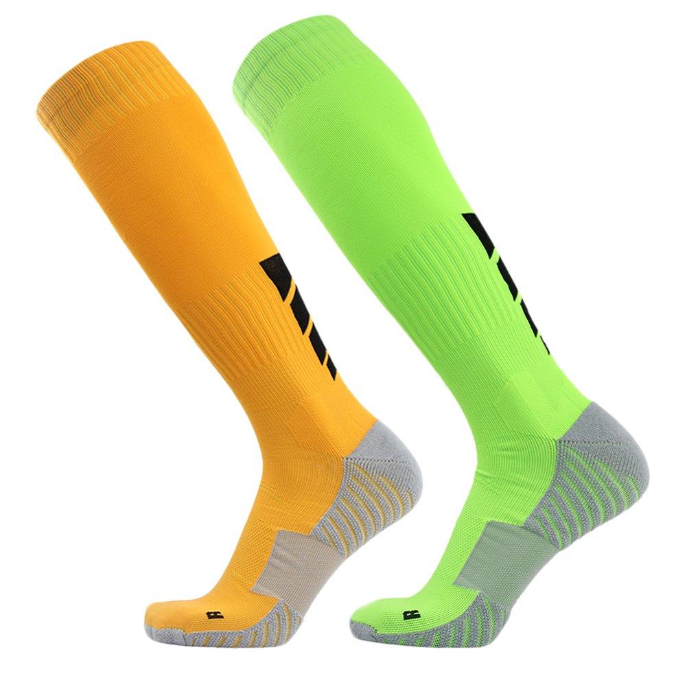 サッカーソックス、3streetユニセックスアスレチック圧縮ソックス1 / 2 / 3 / 4 / 6 / 10ペア B017N4Y1SM L(Fit For US 10-14)|2-Pairs yellow Green 2-Pairs yellow Green L(Fit For US 10-14)