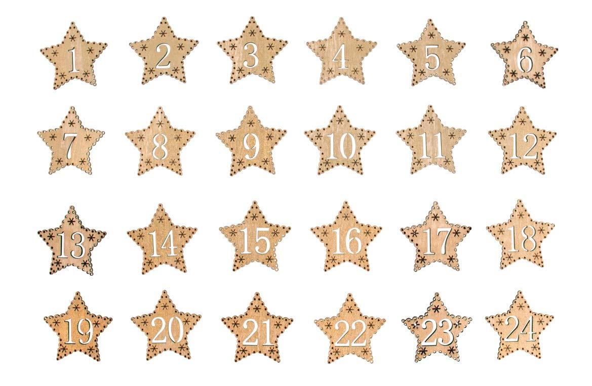 Rayher 46454616 Adventszahlen 1-24 4,5 cm /ø f/ür selbstgebastelte Adventskalender Holz-Sterne gold