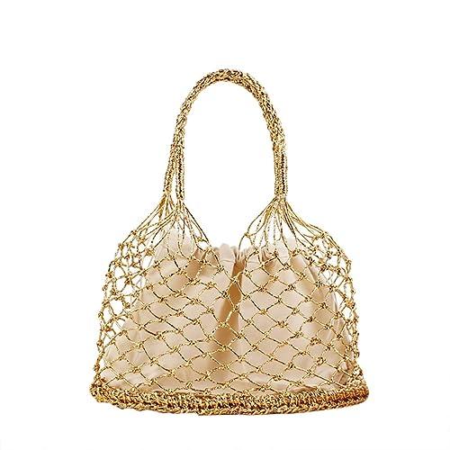 Bolso de punto de ganchillo de oro puro y plata hecho a mano Bolsas de asas tejidas de ratán Bolso de paja: Amazon.es: Zapatos y complementos