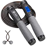 Jump Rope with Counter, Digital Speed Skipping Rope[Cordless for Indoor Home Workout], Weighted Handles, Adjustable…