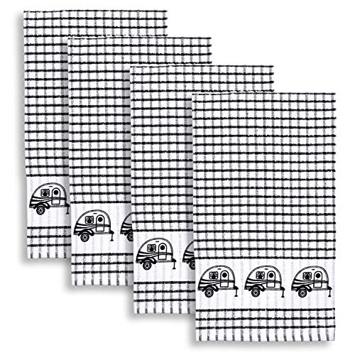 Cackleberry Home Retro Camper Windowpane Check Cotton Terrycloth Kitchen Towels, Set of 4 (Black) ()