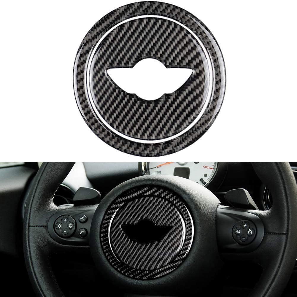 znwiem Car Steering Wheel Decorative Frame Trim for Mini Cooper Clubman R55 R56 R60 R61 Carbon Fiber Auto Interior Sticker