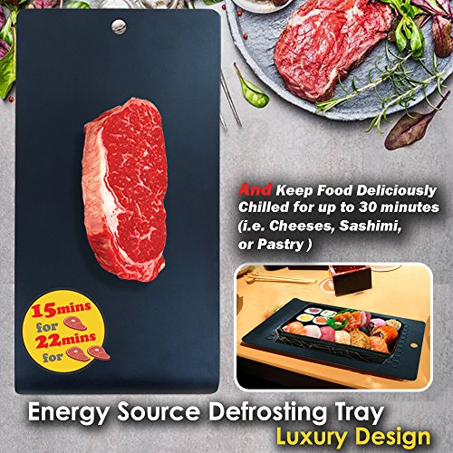 PDair Energy Source Defrosting Tray and Chill Platter, The Quickest and Safest Way to Defrost Frozen Food Without Electricity, Microwave, Hot Water or Other Tools - Luxury Design (Black) (Pdair Black Aluminum Metal)