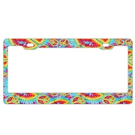 Hippie Love Peace Freedom Auto Car License Plate Frame Tag Holder 4 Hole
