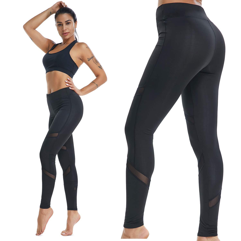 Fitness Women Sports Mesh Yoga Leggings, Workout Running Pants in Black& Mesh Designed