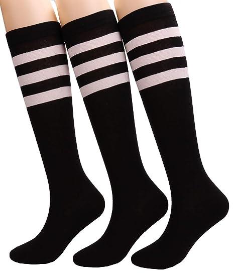 a062ada7ef5 3 Pairs Womens Casual Stripe Knee High Boot Socks School Uniform Cotton Sock  w31 (3 pairs black) at Amazon Women s Clothing store