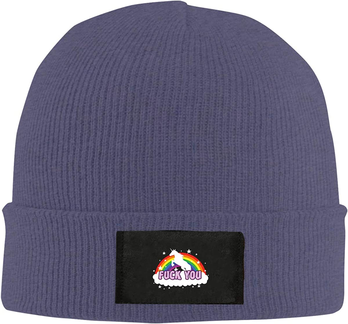 Fuck You Rainbow Top Level Beanie Men Women Unisex Stylish Slouch Beanie Hats Black
