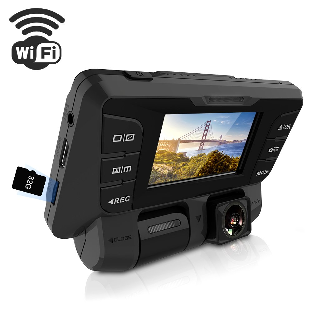 ITRUE X9D WIFI Dash Cam, Rotatable Inner and Front Cameras Dual Full HD 1080P, Stealth Design ,170°Wide Angle Superior Night Mode, G-Sensor & WDR, for Rideshare Drivers ,32G microSD Card included