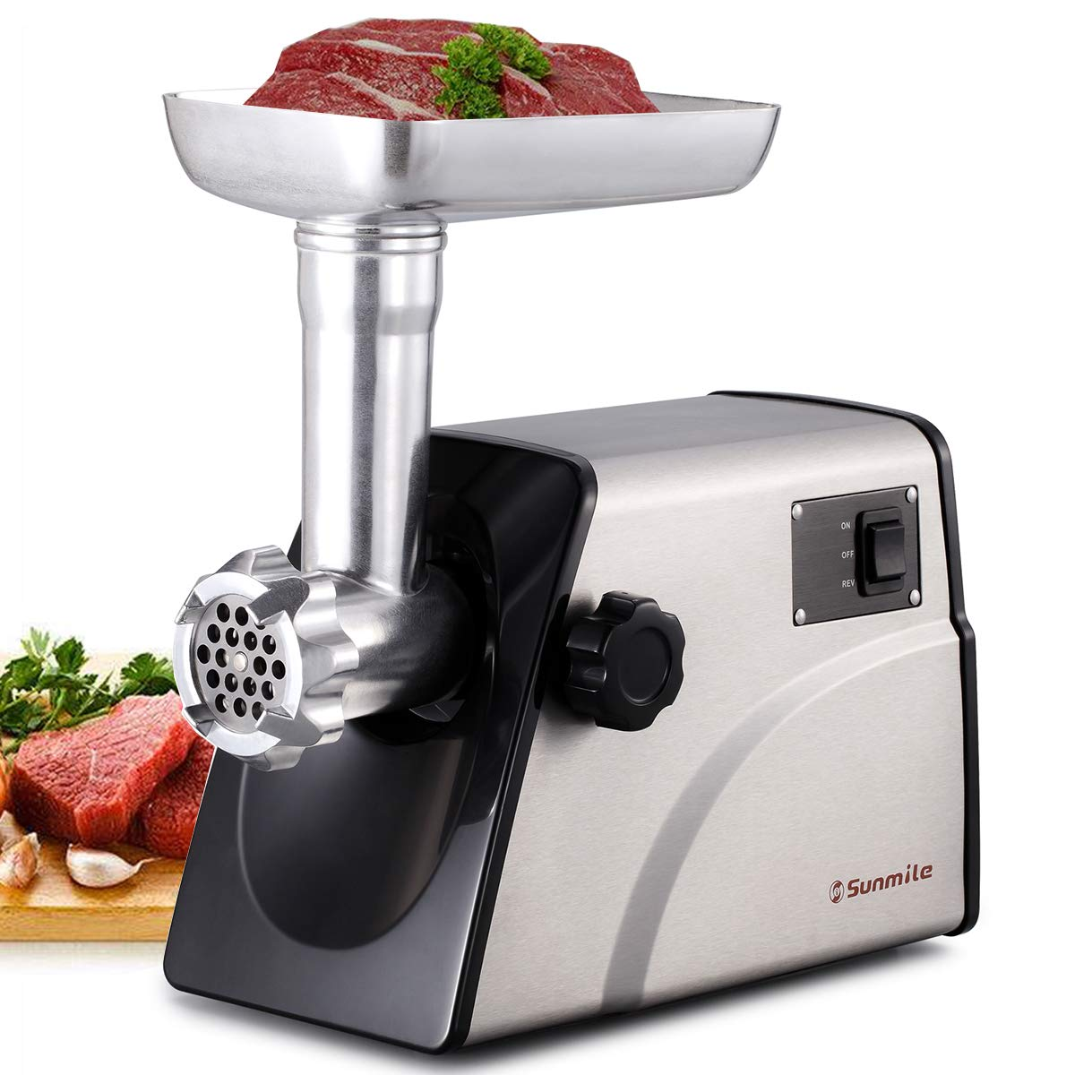 Sunmile SM-G33 Electric Meat Grinder - 1HP 800W Max Power - ETL Stainless Steel Meat Grinder Mincer Sausage Stuffer - Stainless Steel Blade and Plates, 3 Sausage Makers by Sunmile