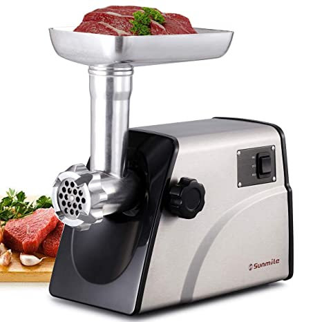Sunmile SM-G33 Electric Meat Grinder - 1HP 800W Max Power - ETL Stainless Steel Meat Grinder Mincer Sausage Stuffer - Stainless Steel Blade and ...