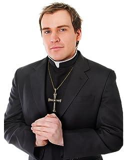 Black Shirt Front With Collar Vicar Priest Fancy Dress Costume Vicars & Tarts (disfraz): Bristol Novelty: Amazon.es: Juguetes y juegos