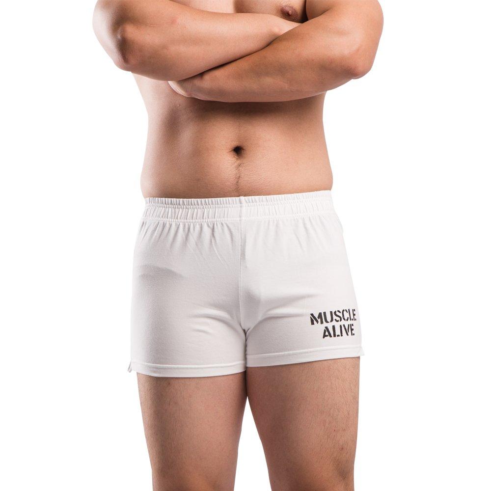 MUSCLE ALIVE Mens Bodybuilding Shorts 3'' Inseam Cotton Size M White