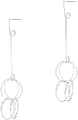 Pomina Overlapping Textured Multi Circle Dangling Post Drop Earrings