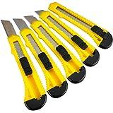 Katzco Retractable Utility Knife Set - 5 Pack - 6 Inch - Heavy Duty Carbon Steel - for Cardboard, Rope, Carpet, Linoleum…