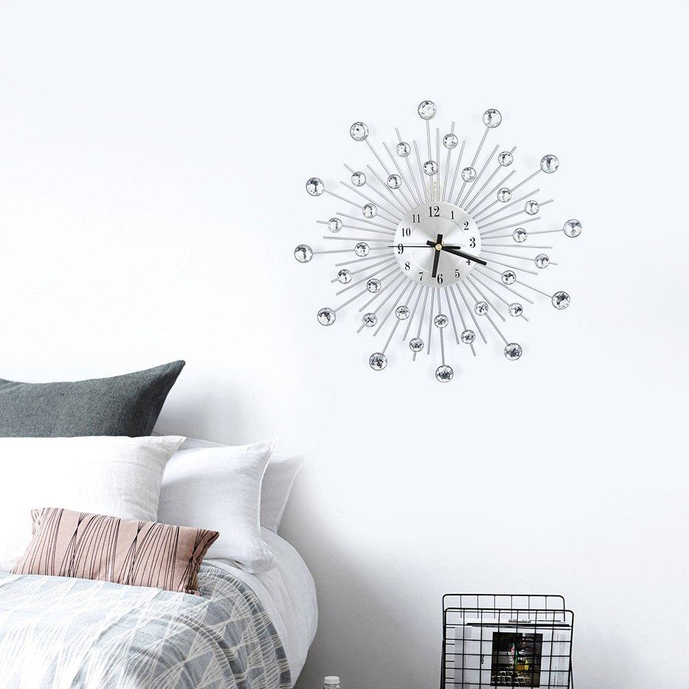 Reloj de Pared Plateado, Moderno sin Marco Reloj de Pared con Hierro Reloj Pared Diamantes 3D de Moda Reloj Pared del Hogar Oficina: Amazon.es: Hogar