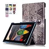 Funda para el Lenovo Tab 3 7 Essentia,PU Cuero Piel Smart Case Flip Cover Carcasa para Lenovo Tab 3 7 Essentia A710F Tablet(7'' Pulgadas) Funda de Cuero con Función Soporte