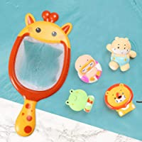 SAPU Baby Bath Toy Set, 5 in 1 Fishing Toys with Fising Net Cute Animal Toy Squirters Soft Environmental Bathtub Toy Water Toy for Toddlers