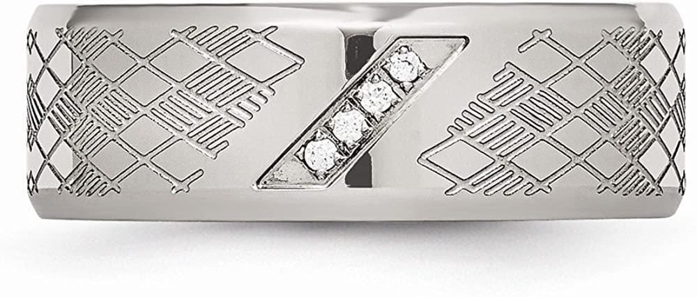 Wedding Bands Other Themed Bands Stainless Steel Polished and Textured CZ Ring Size 8