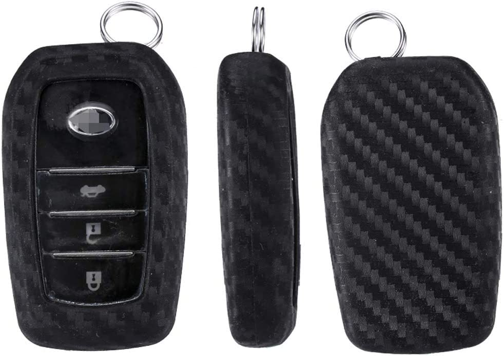 Royalfox 3 4 5 6 Buttons Silicone Carbon Fiber Texture Smart keyless Remote Key Fob case Cover Keychain for Toyota Holder Highlander Avalon Crown Land Cruiser Prado Mark X Camry Corolla Reiz RAV4