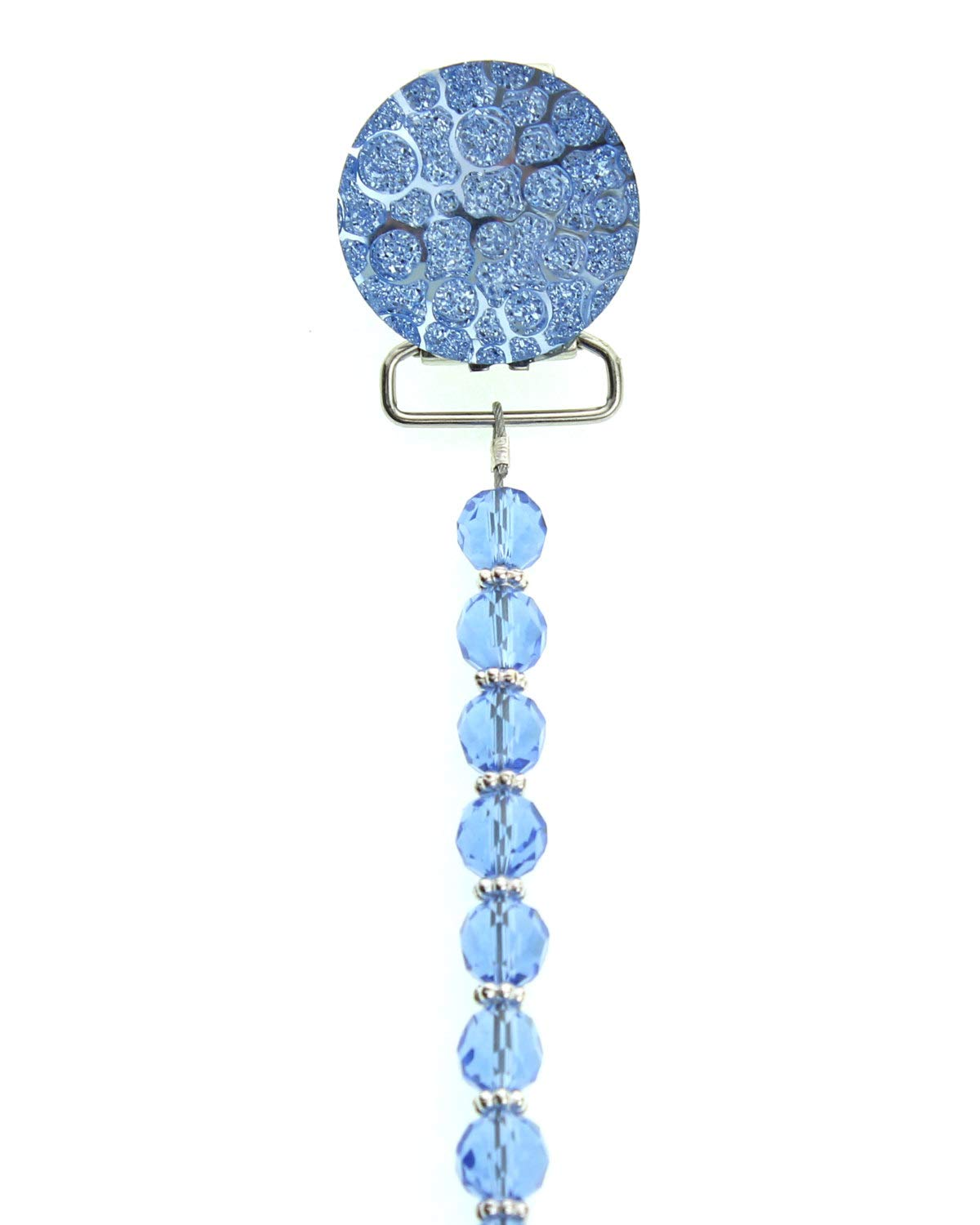 Luxury Swarovski Blue Crushed Crystal Handmade Unisex Baby Pacifier Clip 8 inch (CCRB) by Crystal Dream