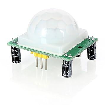 Aukru HC-SR501 Módulo del sensor de movimiento PIR infrarrojo de piroelectricidad del cuerpo humano