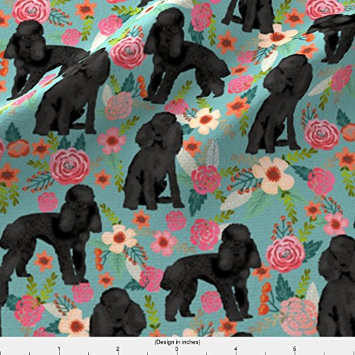 Spoonflower Toy Poodle Fabric Toy Poodle Black Coat Floral by Petfriendly Printed on Fleece Fabric by the Yard - Poodle Black Fleece
