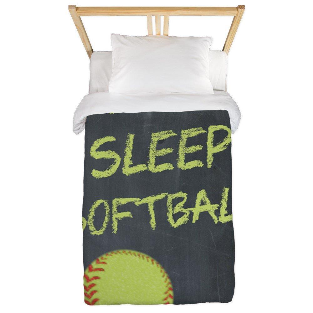 CafePress - Eat, Sleep, Softball Twin Duvet - Twin Duvet Cover, Printed Comforter Cover, Unique Bedding, Microfiber