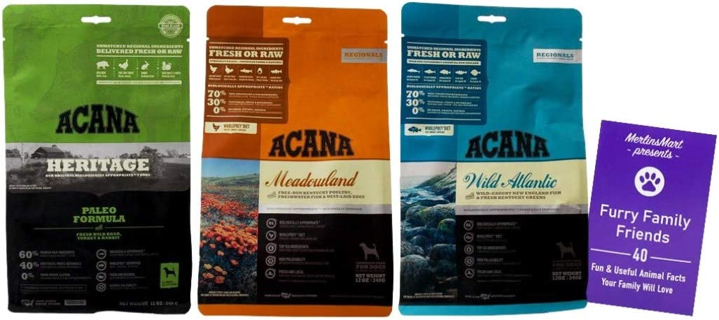 ACANA Dry Dog Food Kibble 3 Flavor Sampler | 1 Each: Paleo Formula, Meadowland, Wild Atlantic (12 Ounces) | Plus Fun Animal Facts Booklet Bundle