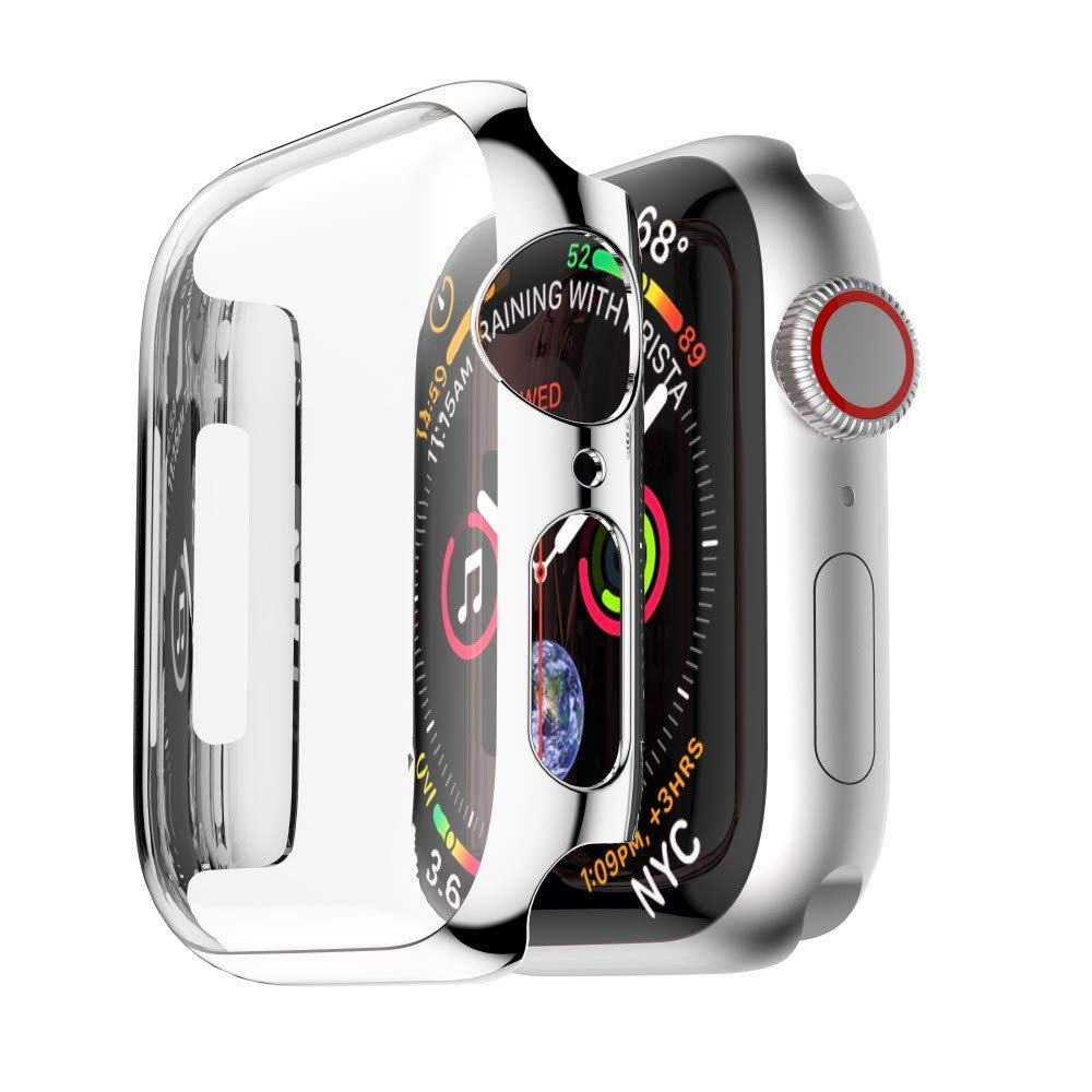 Tech Express Chrome Screen Protector Case for Apple Watch Series 4 [iWatch Cover] Easy Snap On Metallic Rugged Bumper for 40mm & 44mm Shockproof Full Body Hard PC (Silver, 44mm)