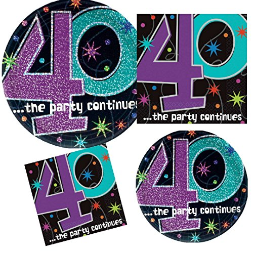 The Party Continues at 40 Party Supply Pack! Bundle Includes Paper Plates & Napkins for 8 Guests