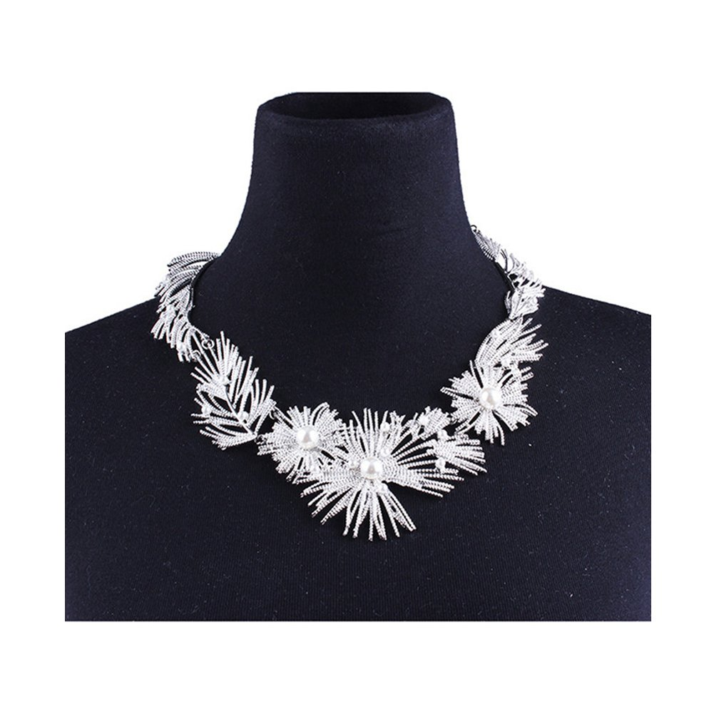 DIDa Statement Necklace for Women Chunky Necklace Silver Collar Bib Choker Necklace