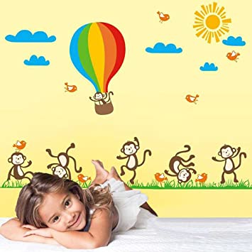 Amazon.com: Walplus Wall Stickers Monkey Balloon Cute Animal Cartoon ...
