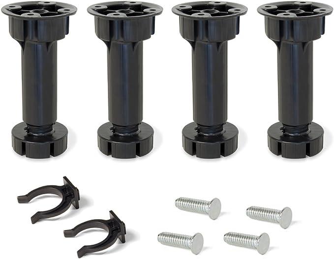 EMUCA - Patas Regulables para Muebles de Cocina o baño, Pack de 4 pies Negros con Accesorios de Montaje, H 100mm