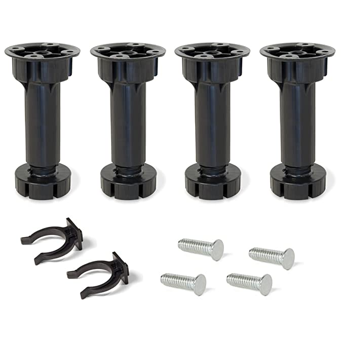 H 150 mm Emuca 2032617 Set aus 10 S/ätzen aus 4 regulierbaren F/ü/ßen f/ür K/üche//Bad mit Zubeh/ör H/öhe 148-165mm aus schwarzem Kunststoff