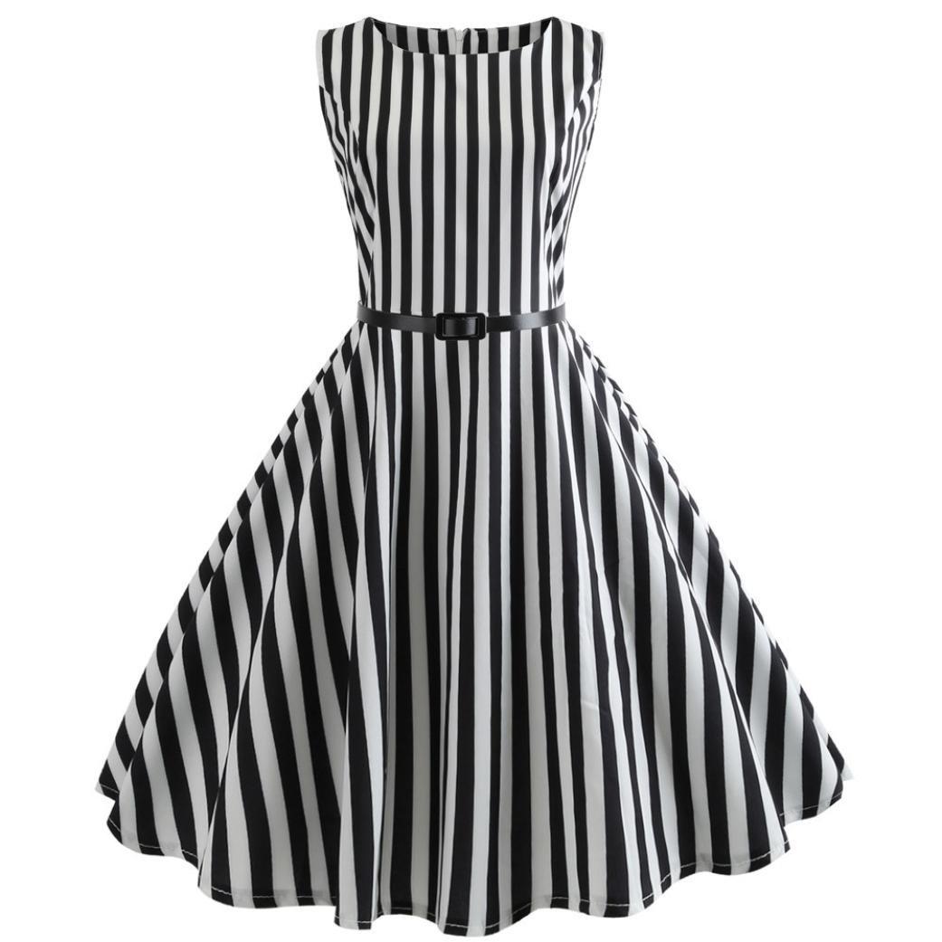 da436e264aa ... Hepburn Style Dress Vertical Stripe Waisted Rockabilly Swing Sundress.  Wholesale Price 9.99 -  10.79. Imported Zipper closure ♬ The beauty of a  woman ...
