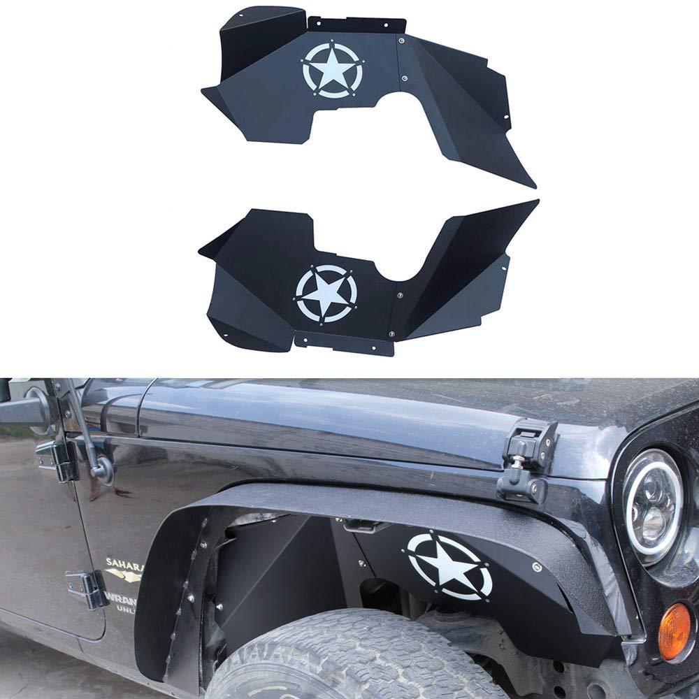 DEF Front Inner Fender Liners for 2007-2018 Jeep Wrangler JK JKU 4WD Aluminum Black Splash Guards Lightweight Design 2pcs