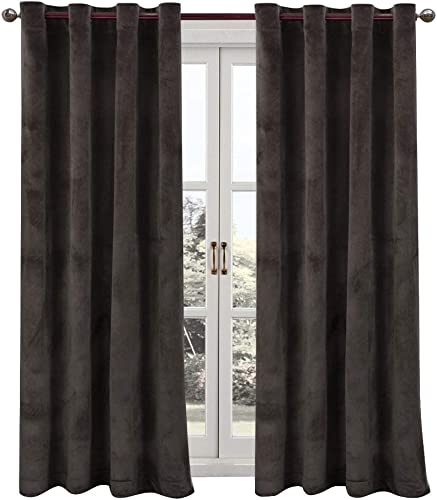 ComforHome Solid Soft Velvet Window Curtain Grommets Drapes 52 inch by 95 inch 2 Panels , Mocha